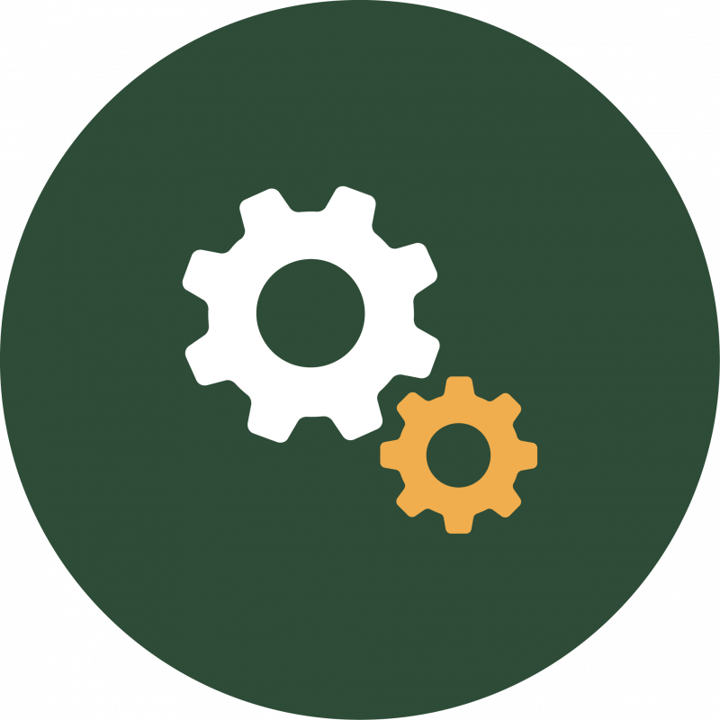 Green symbol with cog wheels